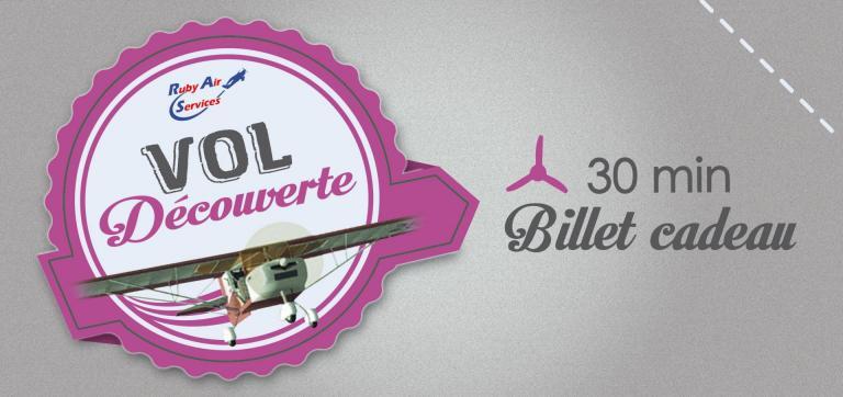 """Billets Cadeau pour un vol """"Découverte"""" de 30' en ULM."""