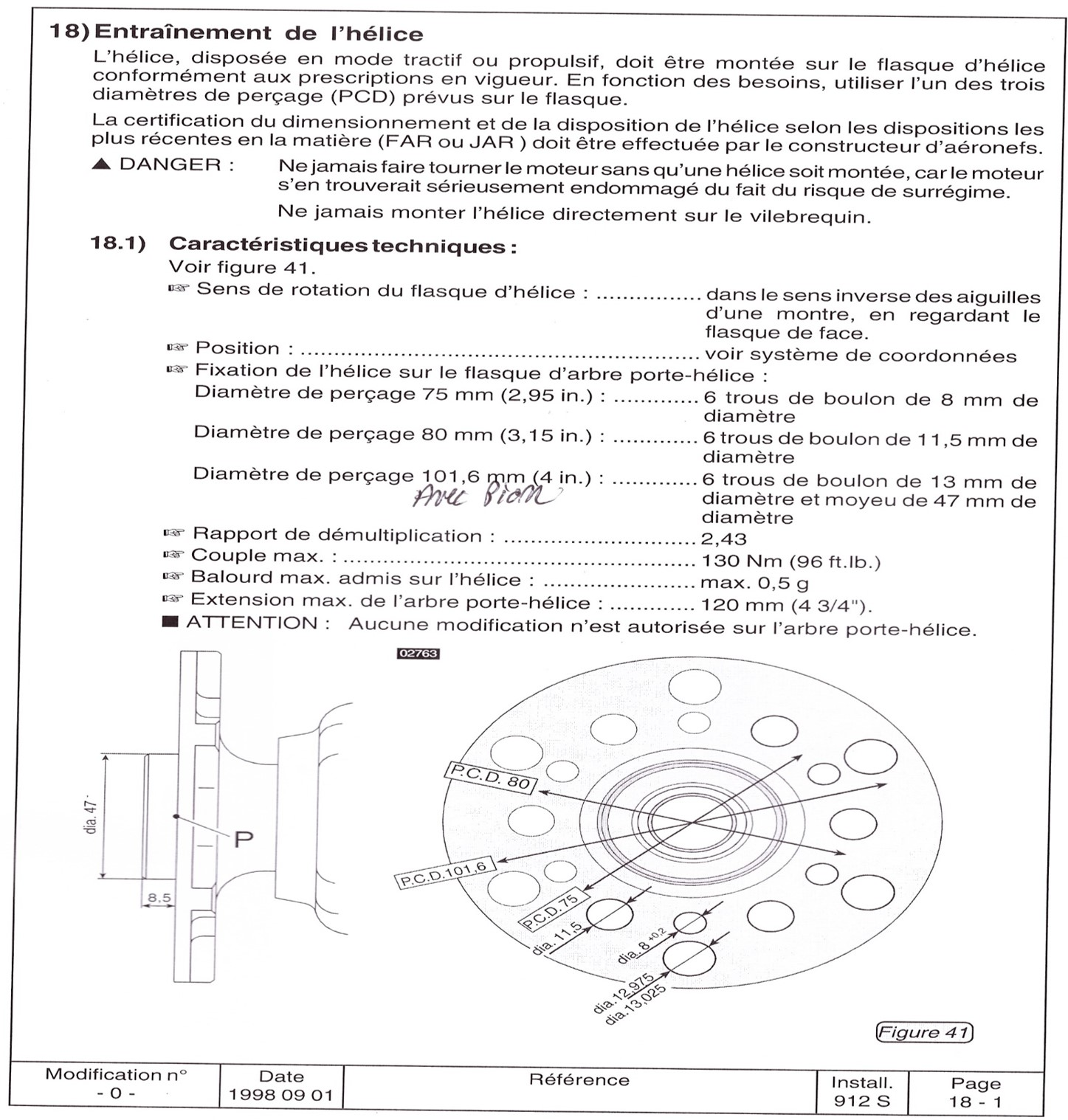 Flasque rotax 912